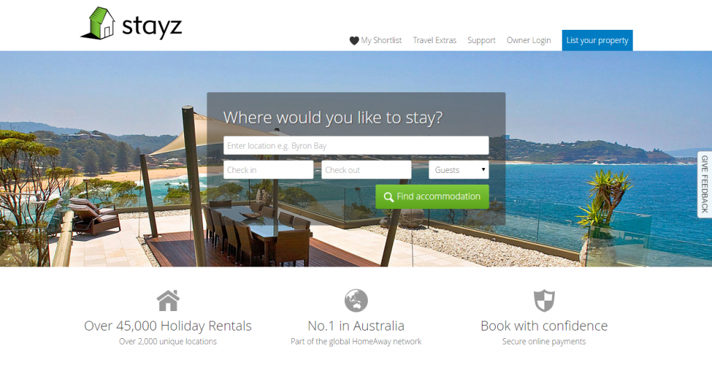 Stayz Holiday Accommodation   45 000  Holiday Rentals across Australia